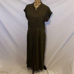 NWT Women's Olive Green Buttondown Dress Large